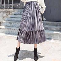 Женская плиссированная длинная юбка бархатная с рюшами серая, фото 1