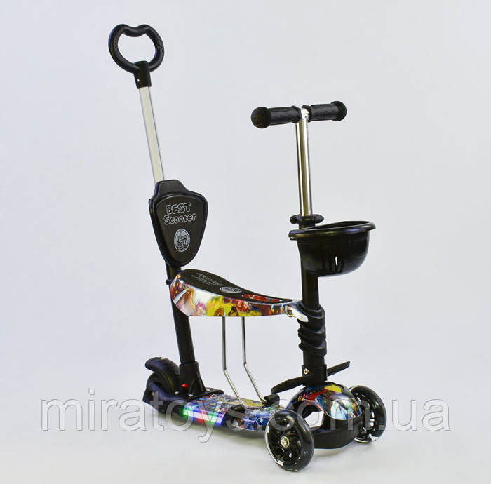Самокат-беговел 5в1 Best Scooter 67050 з батьківською ручкою і сидінням, підсвічування коліс і платформи