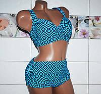 Модный купальник для женщин c большим бюстом, голубой большой размер 60, высокие плавки.