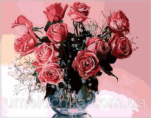 Картина по номерам на холсте Menglei Розовые розы в вазе