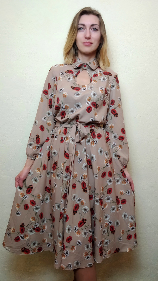Платье женское с юбкой миди полуклеш П258