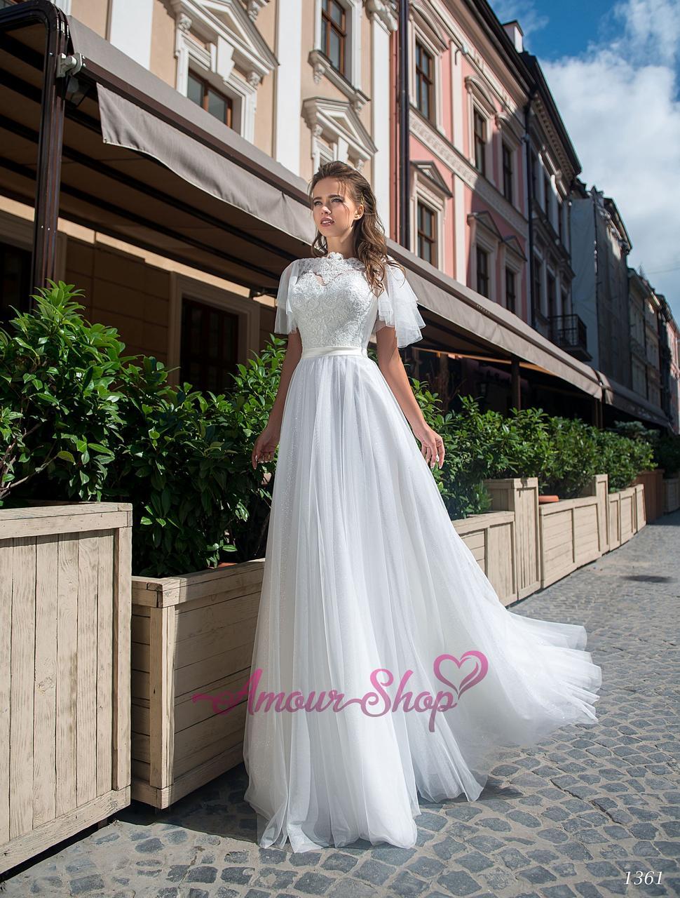 Свадебное платье с рукавчиками крылышки