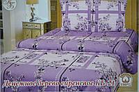 Двуспальное постельное белье из хлопка Денежное дерево сиреневое