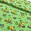 Фланель (байка) желтые утята на зеленом фоне