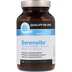 Quality of Life Labs, Серенель, управление стрессом, 60 вегетарианских капсул