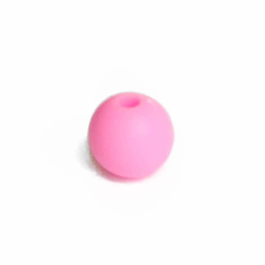 15мм (розовая) круглая, силиконовая бусина