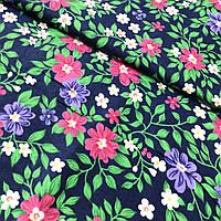Фланель (байка) ш.150 розовые и фиолетовые цветы на темно-синем фоне, фото 1