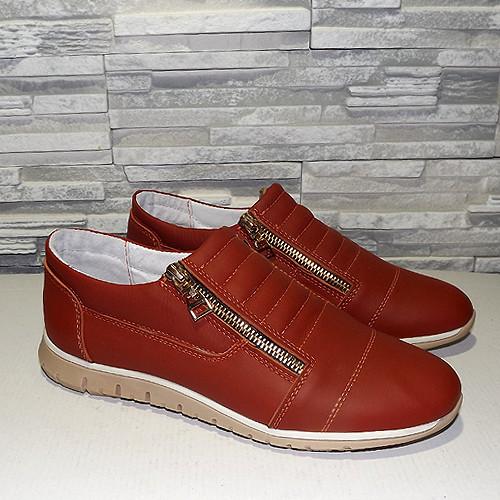 Женские туфли на утолщенной подошве, цвет рыжий