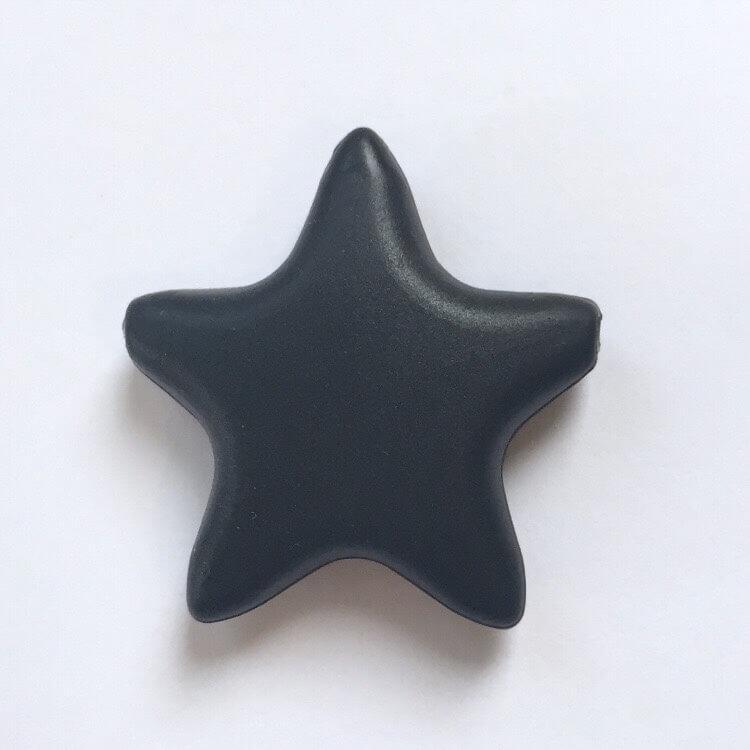 Звезда  острокон. (черный), бусины из пищевого силикона