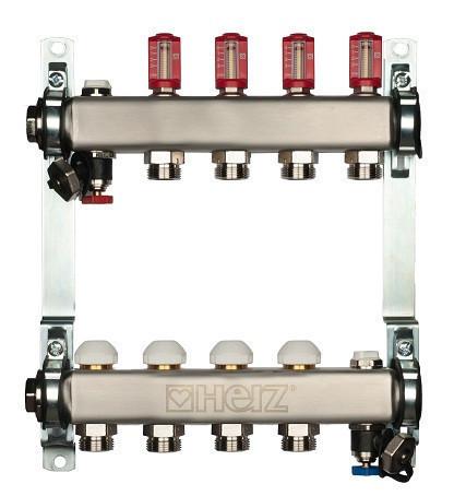 Распределитель для пола. отопление из нерж. стали с расходомером HERZ 3l/min-TS, 7 отводов