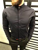 Рубашка мужская темно-синяя 3 цвета ЛЮКС КАЧЕСТВО весна лето рубашка белая черная