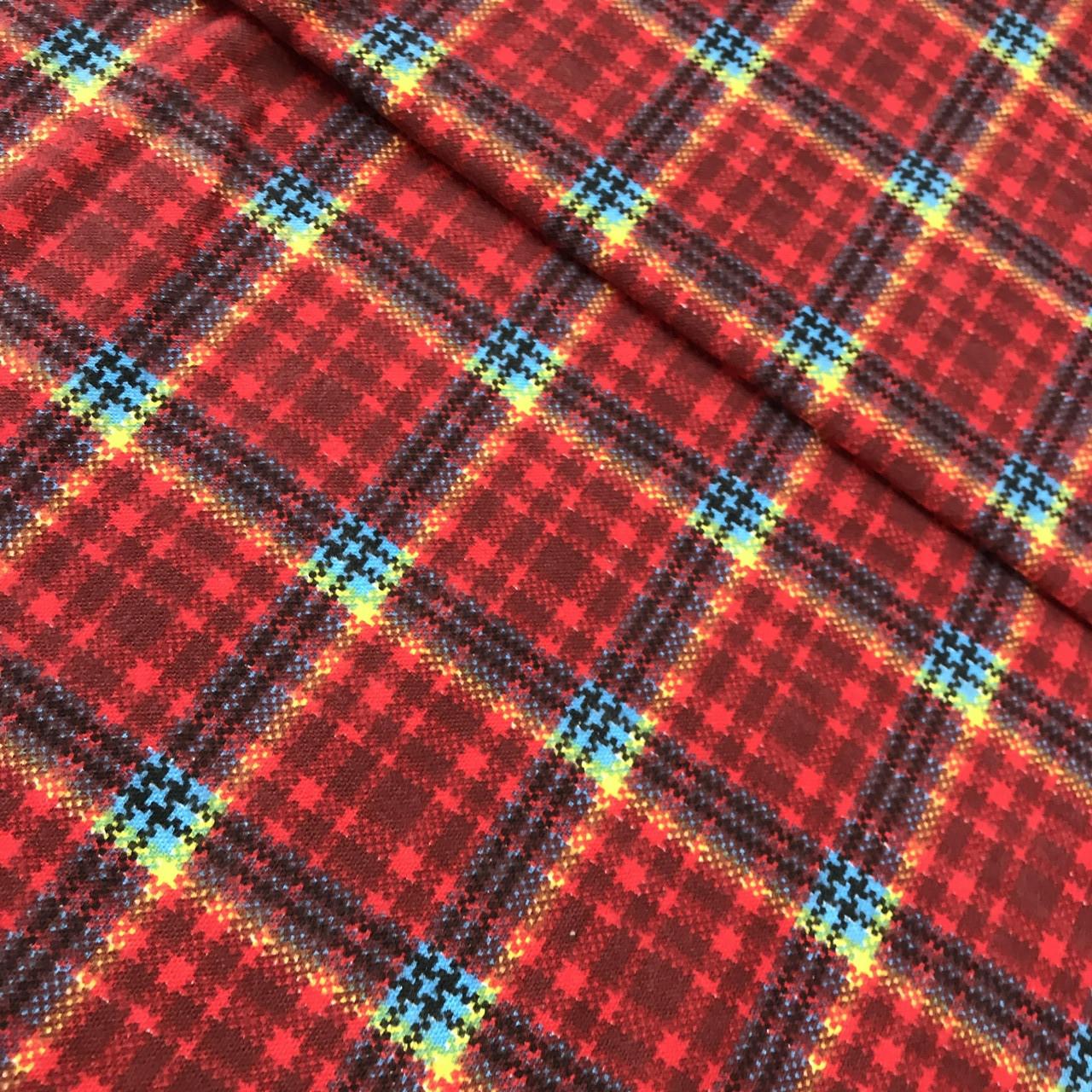 Фланель в красную клетку для рубашек ширина 75 см