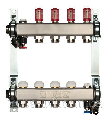 Распределитель для пола. отопление из нерж. стали с расходомером HERZ 3l/min-TS, 11 отводов