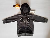 Толстовка для мальчика детская Mexx, на молнии, серая, размер 86, возраст 18-24 месяца.