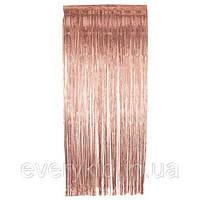 Занавес из фольги для оформления 1x2 м сатин розовое золото
