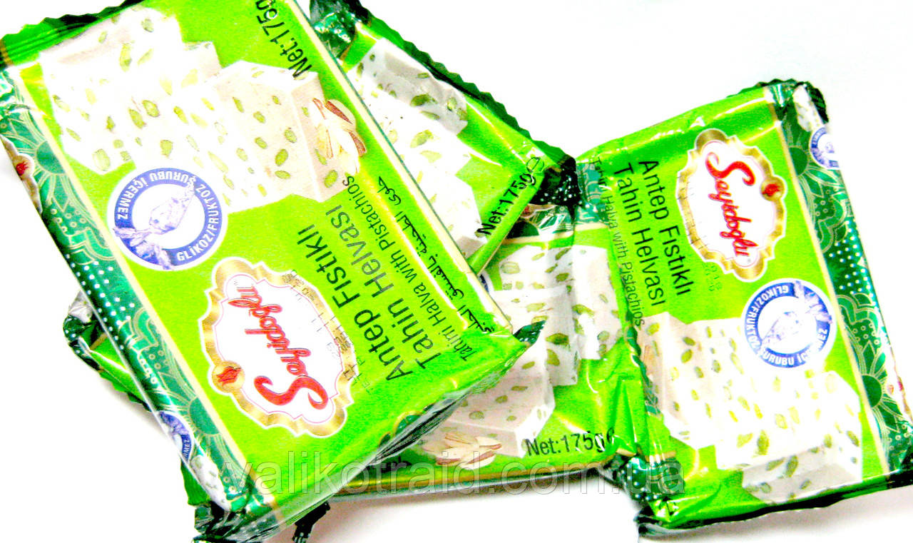 Халва с ФИСТАШКАМИ Seyidoglu кунжутная, 175г , турецкие сладости