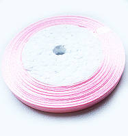 Лента Атласная нежно Розовая ширина 1 см, длина 1 м / 100 м