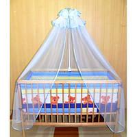 Cпальный комплект в детскую кроватку с защитой и балдахином 60х120 Мишка хлопок ТМ Медисон Украина
