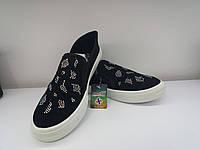 Туфли слипоны женские натуральний текстиль черный +стрази  Турция Разм 36  37  39