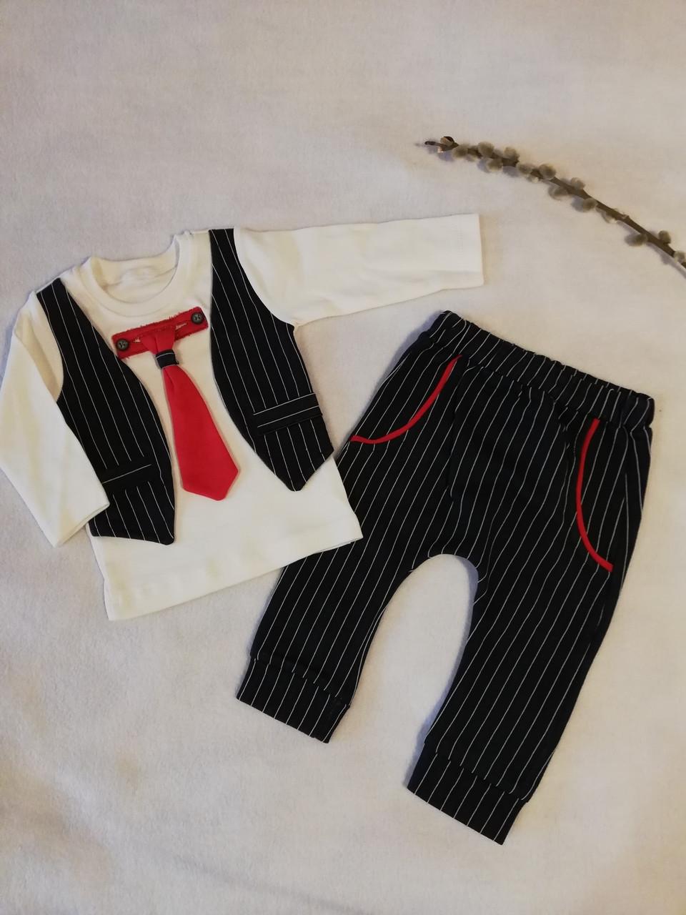 """Нарядный комплект с галстуком для мальчика """"Энди"""" 6-9 мес"""