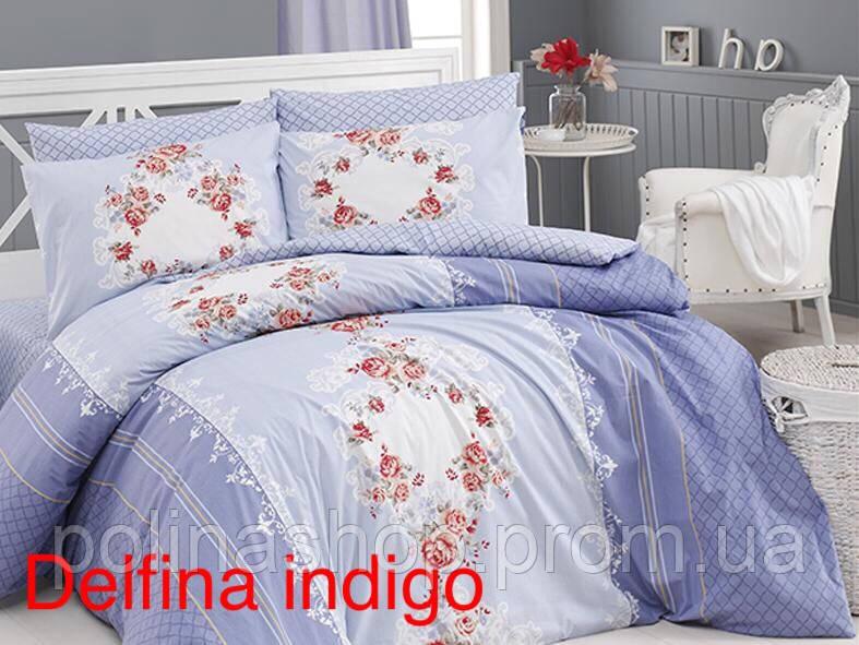 """Комплект постельного белья FIRST CHOICE Ранфорс """"Delfina indigo!"""" Евро"""