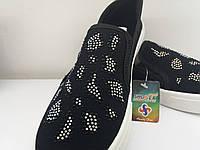 Туфли слипоны женские натуральний текстиль черный +стрази.Фабричная  Турция. 36 37  39