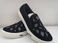 Туфли слипоны женские натуральний текстиль черный +стрази. Фабричная Турция.              36 37  39