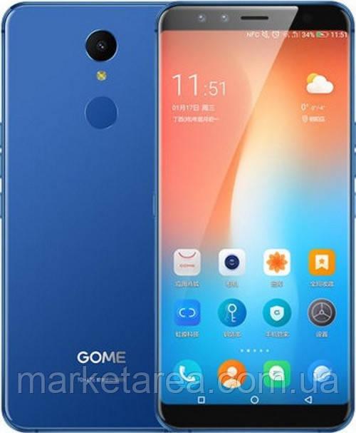 Смартфон со сканером отпечатка пальца функцией нфс и большим дисплеем на 2 сим карты Gome U7 blue 4/64Gb