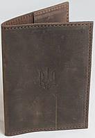 Кожаная обложка для паспорта ручной работы Украинский тризуб VP558966 коричневая