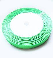 Лента Атласная светло Зеленая ширина 1 см, длина 1 м / 100 м
