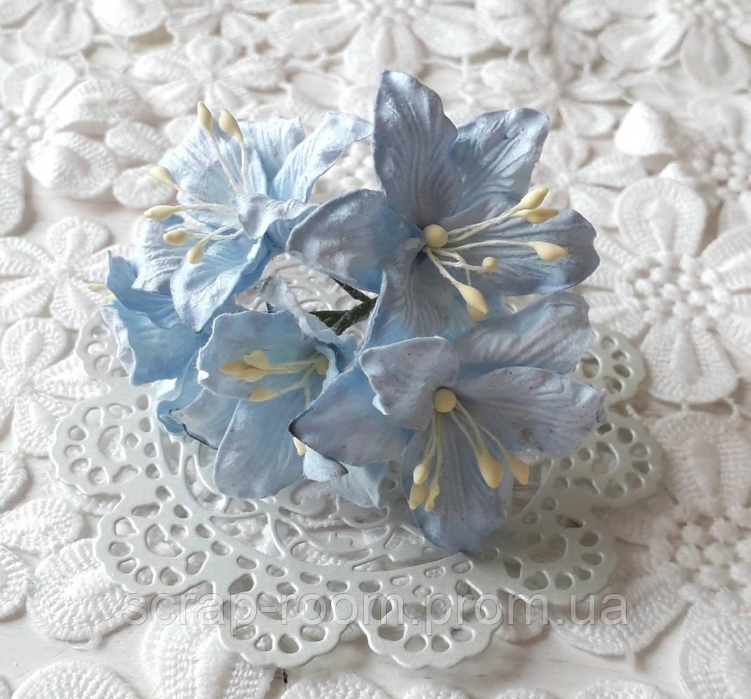 Лилия бумажная голубая 3 см, лилия голубая, бумажная лилия голубая 3 см Таиланд, голубая лилия, цена за 1 шт