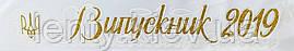Випускник 2020 Герб cтрічка атлас,глітер,обводка (укр.мова)- Белый, Золотистый, Белый