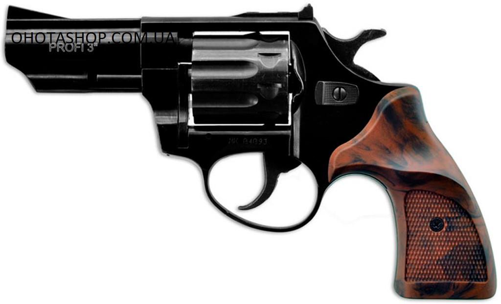 """Револьвер под патрон флобер PROFI-3"""" Pocket (чёрный / пластик под дерево)"""