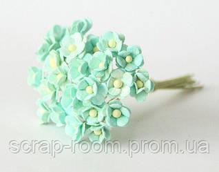 Цветы вишни мини бумажные мятные 1см, цветы вишни мини, бумажные цветы вишни, цветок вишни Таиланд, цена за шт
