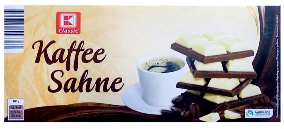 "Шоколад K-Classic ""Kaffee Sahne"" со вкусом кофе, 200 г Германия"