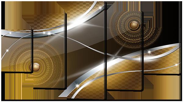 Модульная картина Interno Холст Орнамент и метал 185х106см (R781XXL)