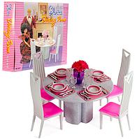 Кукольная мебель Глория Gloria 94011 Столовая на 4-х персон, стол, стулья, посуда