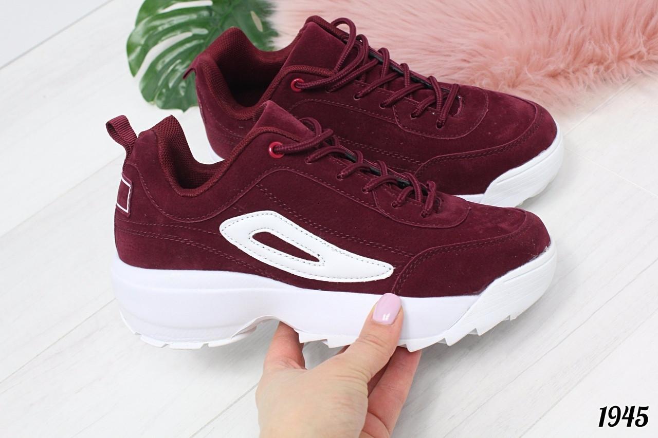 Бордовые кроссовки в стиле Fila. Аналог, фото 1