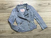 Куртка для девочек с экокожей. 116 рост.
