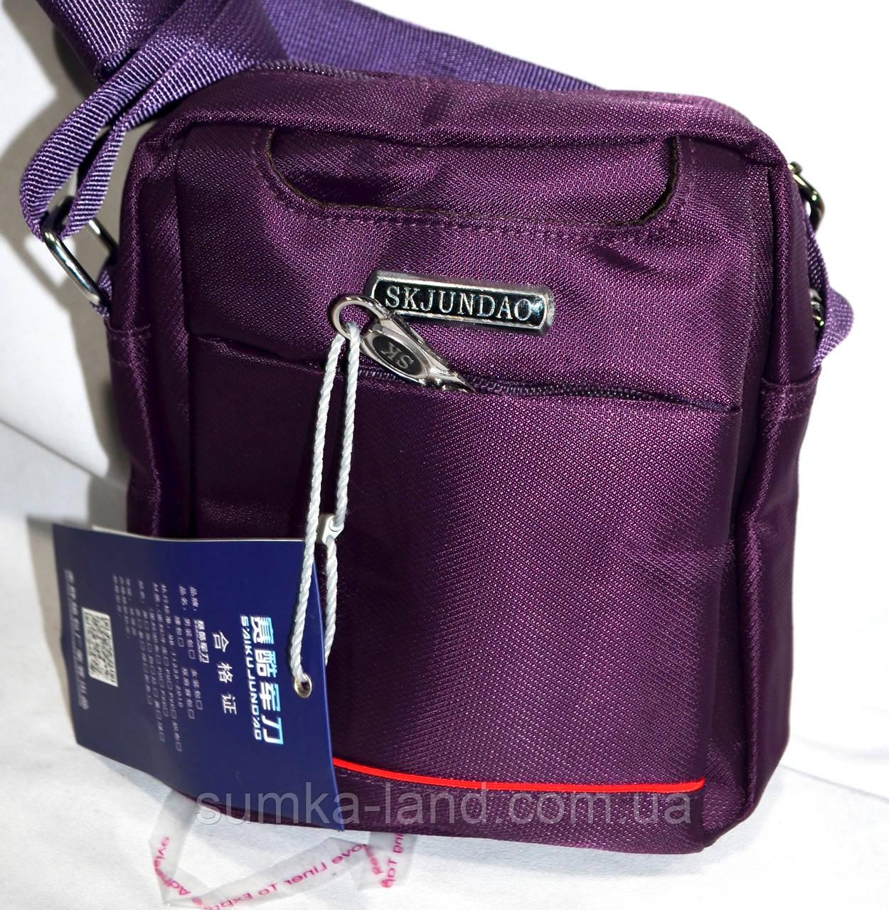 Мужская барсетка текстильная через плечо 15*19 см (фиолетовый)