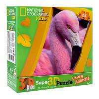Пазлы с эффектом 3D на 63 детали (дикие животные - фламинго), 13674