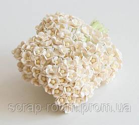 Цветы вишни мини бумажные белые 1см, цветы вишни мини, цветок вишни Таиланд 1 см, цена за 1 шт