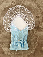 Конверт Ангел (голубой) 2в1 (плед+кружевная пеленка на выписку и крестины)