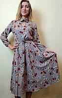 Платье женское с юбкой миди полуклеш в маках П258, фото 1