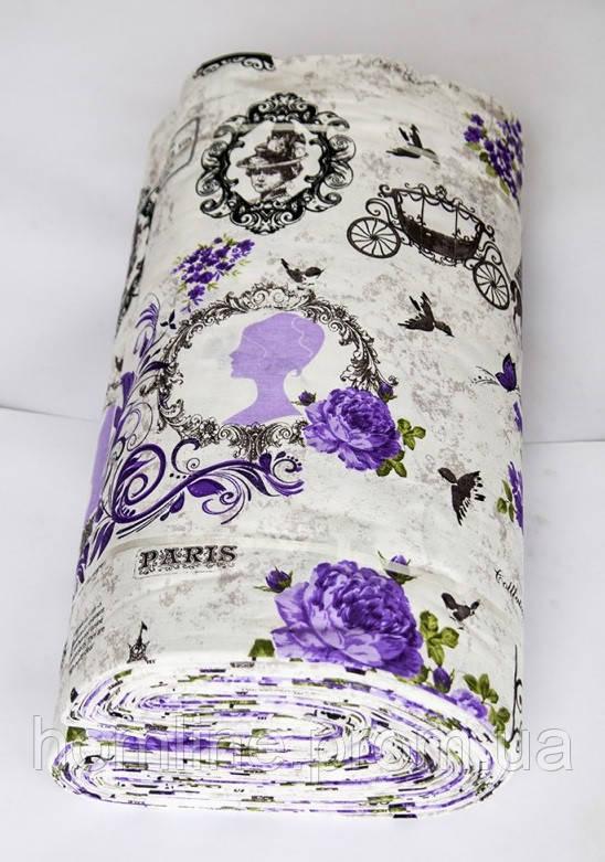 Ткань ранфорс Турция Louvre 11361 V3 lila (220 ширина)