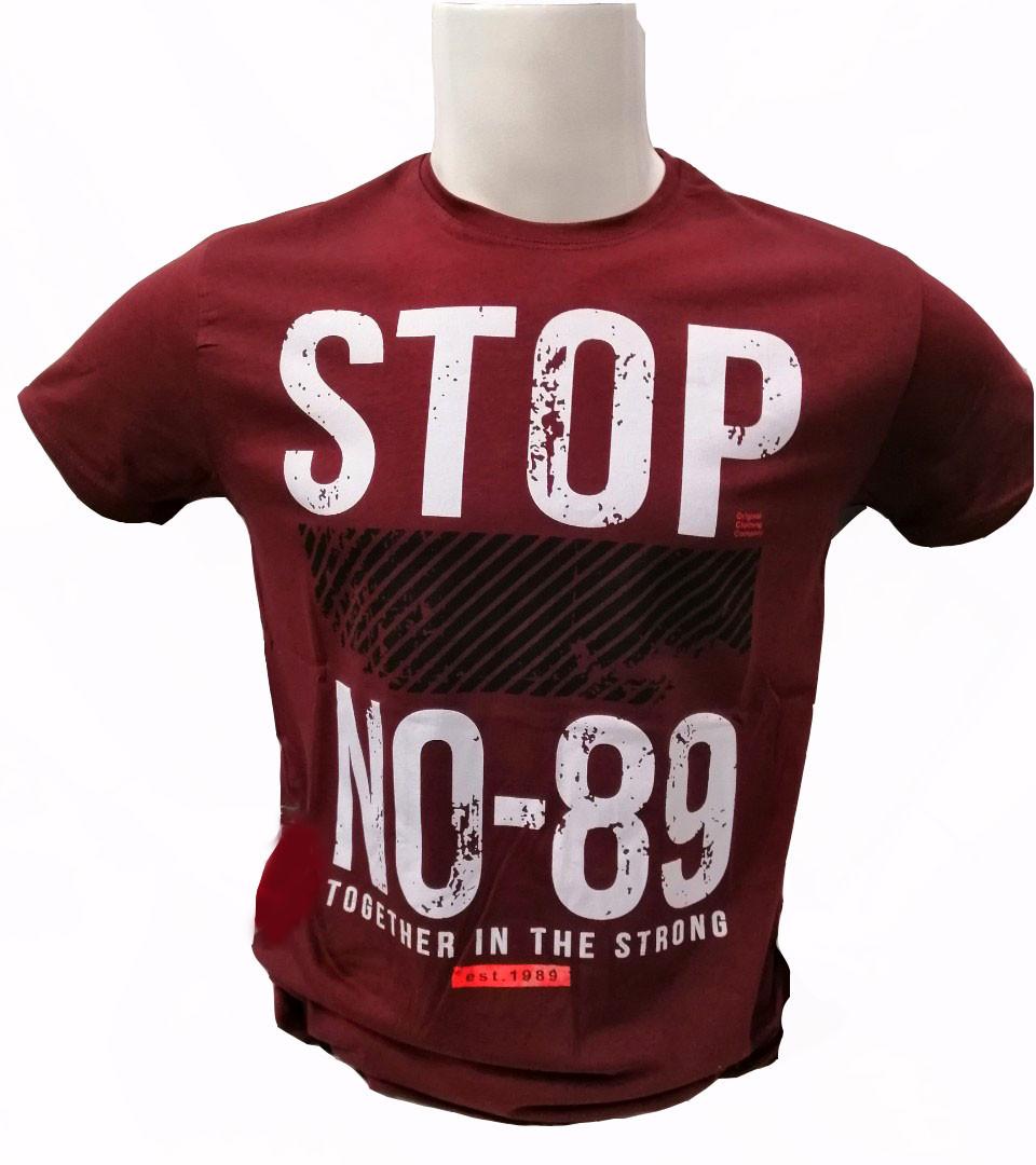 Футболка мужская с надписью Stop турецкого производства
