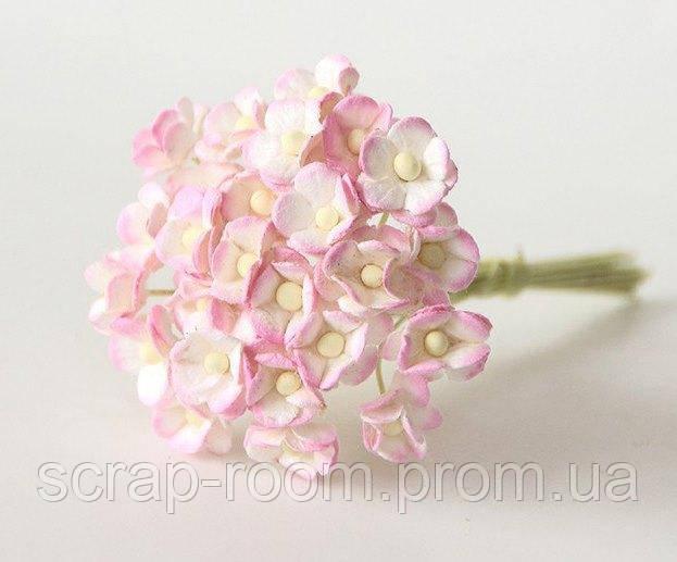 Цветы вишни мини бумажные бело-розовые 1см, бумажные цветы вишни, цветок вишни Таиланд, цена за 1 шт