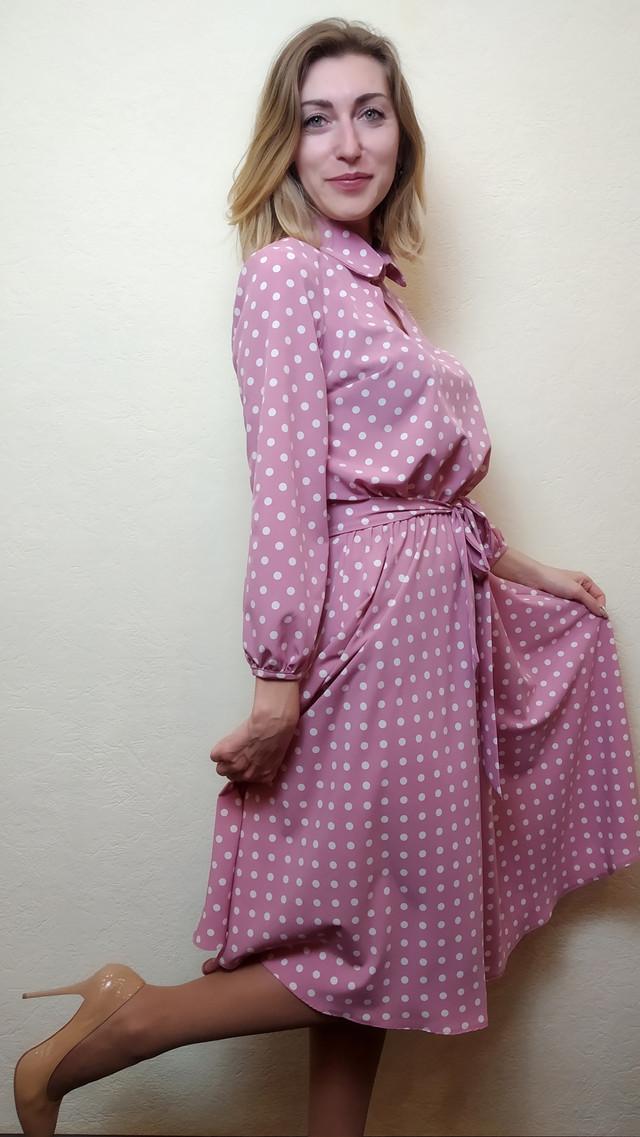 Платье женское с юбкой миди полуклеш в горошек П258