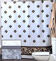 Штора для ванной комнаты  из полиэстера (180Х200 см) декор BEZEME с бежевым узором Miranda OST-354
