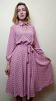 Платье женское с юбкой миди полуклеш в горошек П258, фото 1